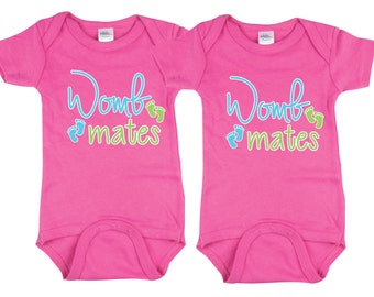 Twin Girls Clothing, Womb Mates, Wombmates, Twin Girls, GirlTwins, sizes from 0 to 12 months, Twin Clothing