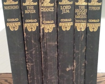 Joseph Conrad six book set: Chance, The Rover, Lord Jim, Nostromo, Typhoon, The Narcissus