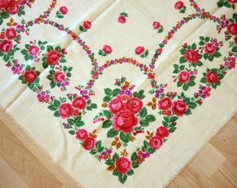 Vintage woolen shawl Woolen scarf with floral pattern #87