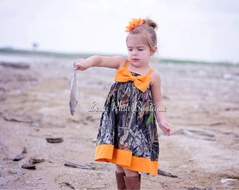 Girls Big Bow Mossy Oak Camo Hattie Dress