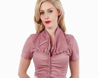 1950s Style Buttoned Shirt: Dusky Pink