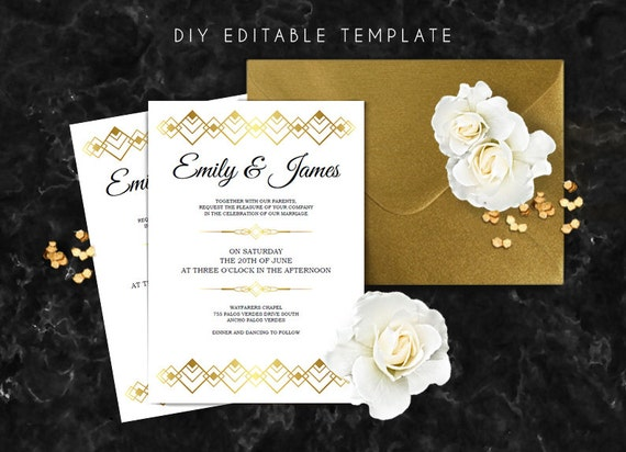 Editable wedding invitation template. Great gatsby wedding
