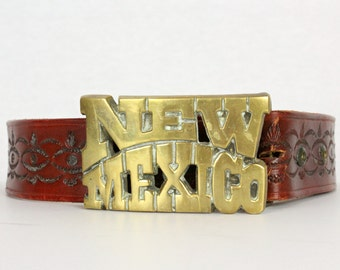 Vintage Tooled Leather New Mexico Belt
