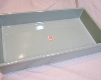 Rectangle Suiban - Handmade Ikebana Ceramic Bowl - Sky Blue, Dk Blue on Lavender