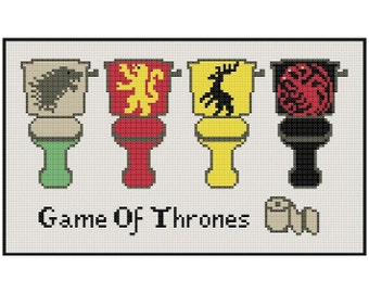 Game Of Thrones Toilets - Cross Stitch PDF Pattern Instant Download