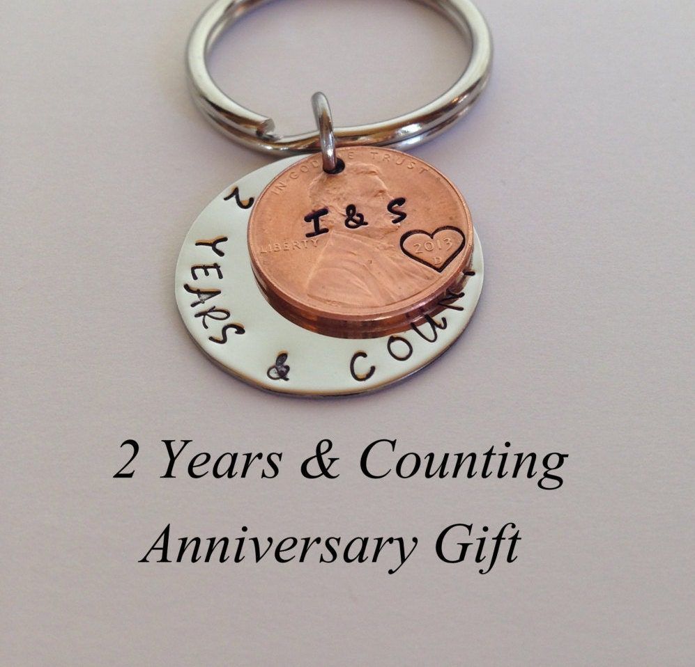 2 Year Anniversary Gift: 2 Year Anniversary Gift Personalized Key Chain Hand Stamped