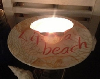 beach themed plate stand, candle stand, jewelry stand, candy stand, cupcake stand, perfume stand, display stand, beach, shells