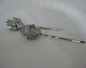 Vintage Hair Pins, Wedding, Bride, Bridesmaids, Gift for Her,  Rhinestones, Repurposed Jewelry, Eco Friendly