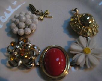 Vintage Earring Bracelet (15) Repurposed, Vintage Earrings, Red, White