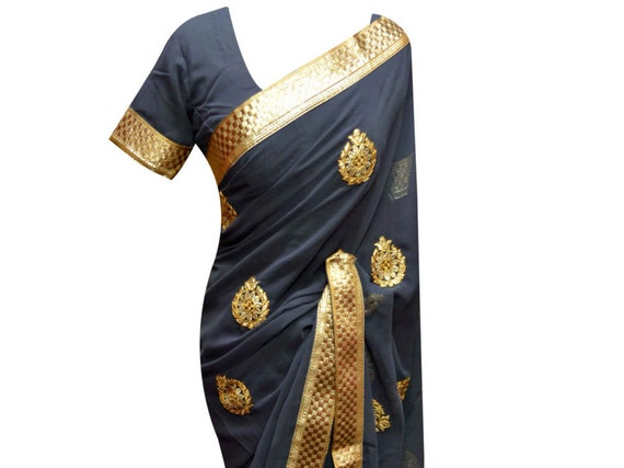 Indian Grey with gold Border designer wedding sarees by ...