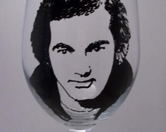 Neil Diamond, Hand Painted Glass, Painted Wine Glass