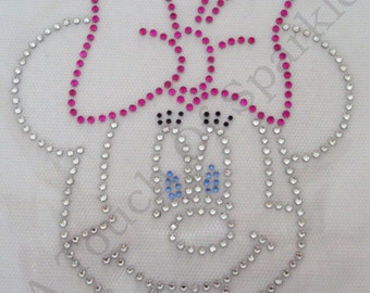 MINNIE MOUSE Pink Bow, Iron On / Hot Fix Rhinestone, Diamante, Transfer, Motif, Bling