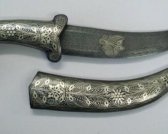 damascus steel blade knife dagger silver bidaree work handmade