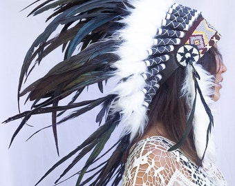 Artisan Feather Headdress - Costume Headpiece Inspired by Native American Headdress aka Indian Headdress - Black Rooster