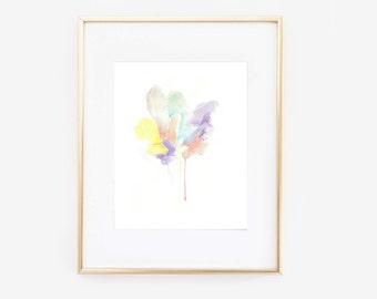 Pastel watercolor crystal cluster print, modern art print, home wall decor, apartment wall art, gift