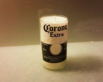 Corona Extra Beer Bottle Candle, YOU Pick Scent! Hand cut, Hand Polished, Maine made