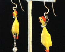 CHIC HEN Rubber Chickens laying Egg EARRINGS - Poultry in Motion!