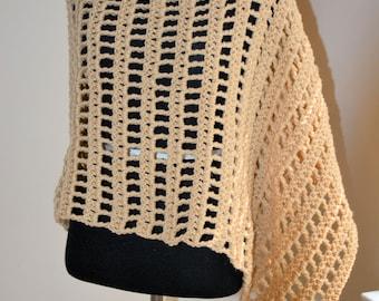 Beige Asymmetrical Crochet Poncho