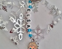 Handmade Frozen ELSA personalised keyring/keychain, bag tag. Children's name tag, Ideal Party bag fillers.