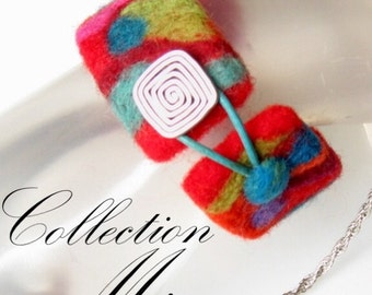 Felted wool bracelet, Original and Unique.  Made with 100% merino wool. Multicolor. Silver Clasp. Soft and lightweight
