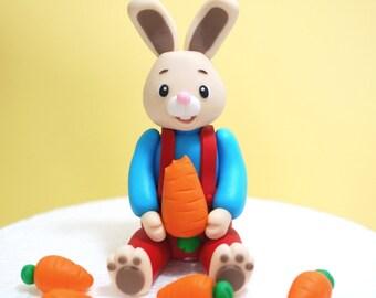Fondant Bunny Cake Topper. Fondant rabbit cake topper. Fondant carrots. Handcraft fondant topper