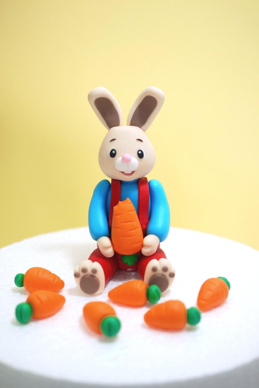 Fondant Bunny Cake Topper Fondant Rabbit Cake Topper Fondant