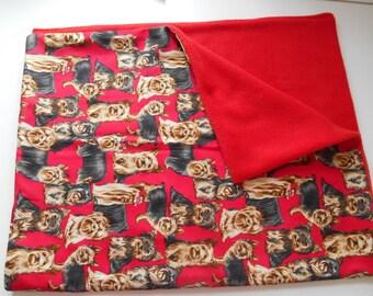 Lovely Puppy Dog Blanket Yorkshire Terrier Pattern