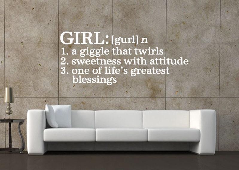 Girls Defination Wall Quote - Car Decal - Custom Wall Decals - Wall Quote Decals - & Girls Defination Wall Quote - Car Decal - Custom Wall Decals - Wall ...
