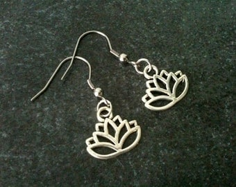 Lotus flower earrings, lotus earrings, lotus jewelry, stainless steel hook, gift idea under 10, yoga meditation, silver color