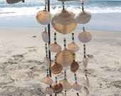 Teal and black glass beaded sea shell windchime
