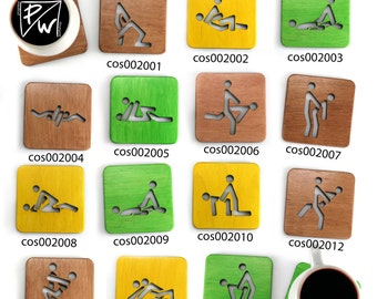Set of 14 wooden Kama Sutra coasters (!!!MEGAPACK)