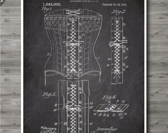 Laced Corset poster, Laced Corset patent, Laced Corset print, Laced Corset Art, Laced Corset Fashion Art, French patent no102