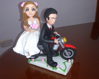 Wedding Cake topper on motorbike