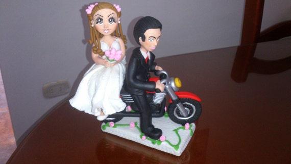 Wedding Cake topper on motorbike