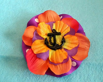Brooch and hair clip together , Hawaii style, Aloha style , 50's, rockabilly, Sailor pin up, Old school