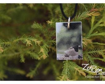 Dark-Eyed Junco Songbird Silver Photo Pendant - Sterling Silver Photo Pendant of a Cute Little Dark-Eyed Junco Songbird