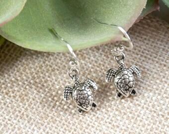 Sterling Silver Earrings, Small Turtle Earrings, Summer Silver Earrings, Little Turtle Earrings On Sterling Silver Hooks, Simple Earrings