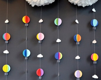7 Hot Air Balloon strands with Pom Cloud, Up Up and Away, PICK YOUR COLORS, Birthday Party Decor, Nursery Decor, Photo prop
