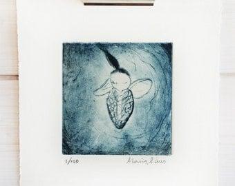 butterflybaby Artprint etching Intaglio handmade
