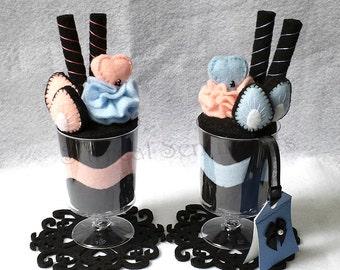 Pastel Goth Surreal Strawberry Felt Sundae Cups, Gift Tag Box, Kawaii Goth Pale Grunge Alternative, Gothic Lolita, Romantic Anniversary Gift