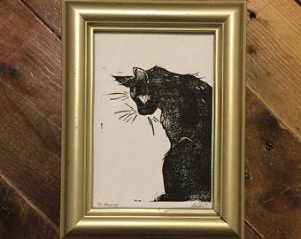 His Majesty - Handmade Cat Block Print
