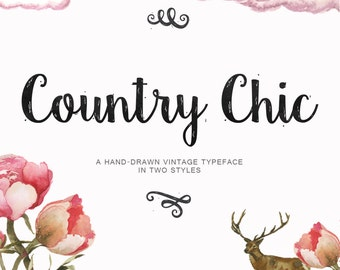 Country Chic Script Shabby Chic Hand Drawn Font Download Commercial or Personal