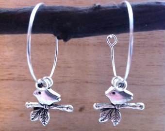 Hanmade Silver Hoop Earrings with a Bird on a Branch Charm