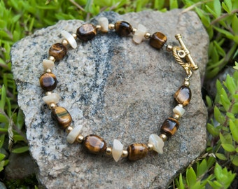 Tigers Eye and Mother of Pearl - Natural Stone Bracelet - Beaded Bracelet