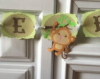 Gender Neutral Baby Shower Banner, Monkey Welcome Baby Banner