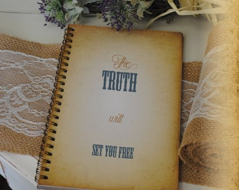 Journal, Writing Journal - The Truth Wil Set You Free, Custom Personalized Journals Vintage Style Book