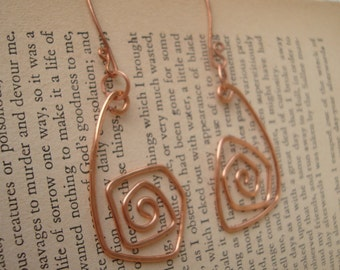 Copper Statement Earrings Latge Bold Hammered Spiral Style