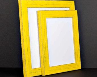 Yellow Picture Frame - Rustic Reclaimed Distressed Barn Wood Style - All Wood - Choose your size - Custom Sizes Available