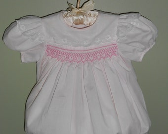 Hand Smocked Pink Baby Bubble