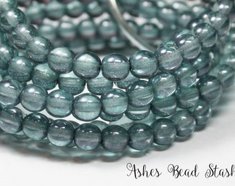 Denim Blue Clear Picasso Glass Druk Round Beads, 30 Pieces